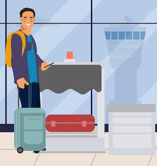 공항에서 남자입니다. 체크아웃 시 공항에서 가방을 든 여행자 남성. 휴가 여행에 가방과 전화 벡터 만화 관광