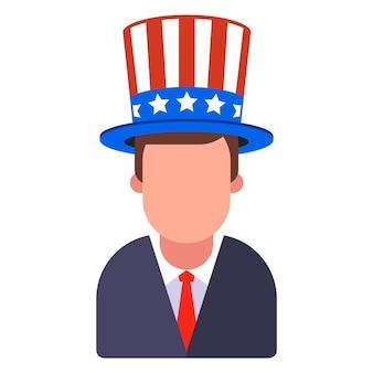 Человек в американской шляпе с полосами и звездами. плоский рисунок