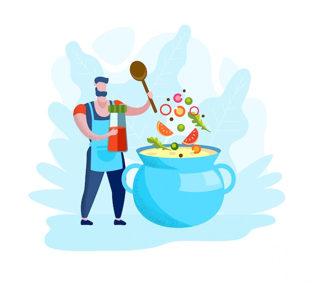 Человек в фартук готовит суп в голубой кастрюле.