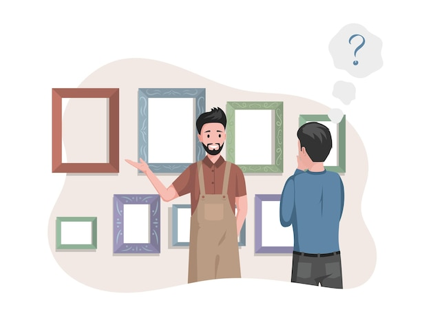 Мужчина в фартуке продает рамки для картин в арт-студии