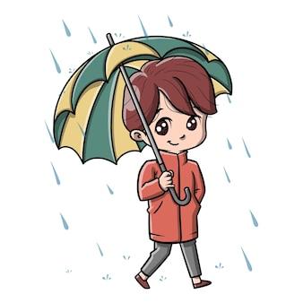 Человек осенью милый мультфильм