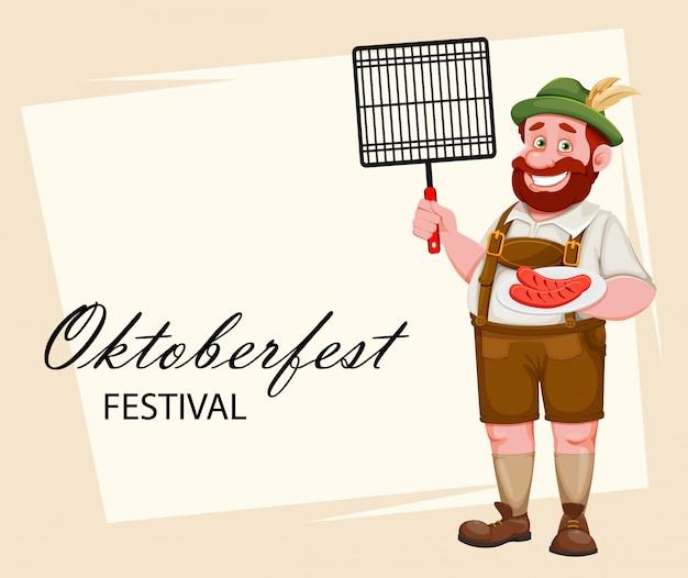 Мужчина в баварской одежде. пивной фестиваль октоберфест