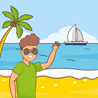 ビーチでの休暇の男