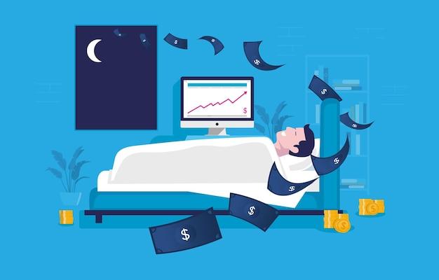 寝ている間に受動的な収入を得ているベッドの男