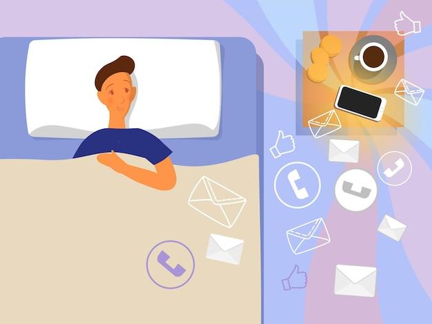 전화와 함께 침대에서 남자입니다. 스마트폰과 함께하는 현대인의 삶. 수면을 방해합니다. 짜증나는 알림. 만화 스타일