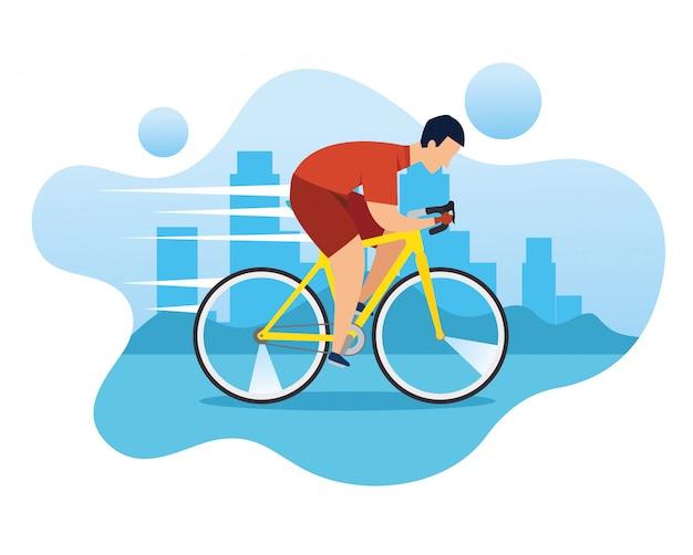 우승 레이스에서 자전거에 남자