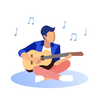 재킷 흰색 배경에 기타를 연주에 남자입니다.