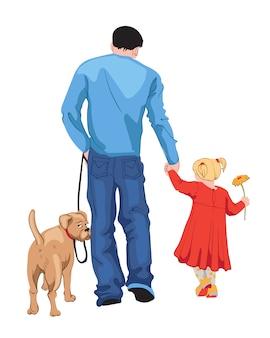 Мужчина в синей футболке и джинсах гуляет со своей дочерью в красном платье с желтым цветком в руке и своей собакой