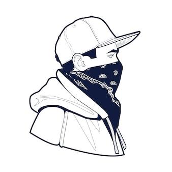 모자와 두건 예술의 남자