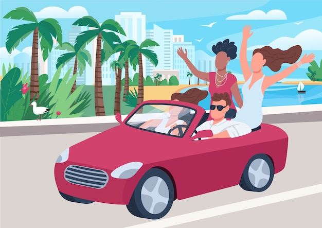 女の子のフラットカラーイラストに囲まれた車の中で男。人気のある魅力的な男。ぶらぶらしている若者。背景に街並みと海岸道路2d漫画のキャラクターに乗ってカブリオレの男