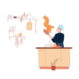 Мужчина в поварском колпаке и фартуке готовит на сковороде