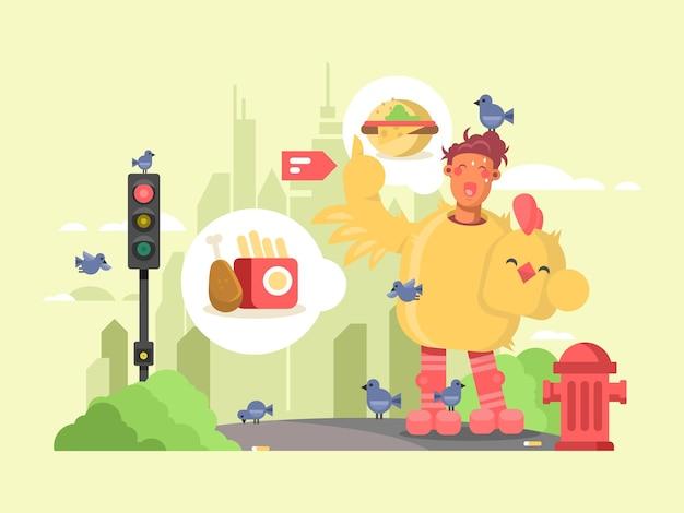 チキンスーツの男。広告と宣伝のための鳥の衣装。ベクトルイラスト