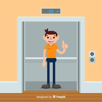Man in elevator