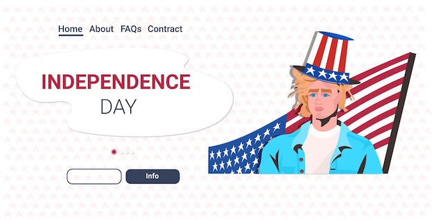 미국 국기 축하, 7 월 4 일 미국 독립 기념일 축하 방문 페이지와 함께 축제 모자에있는 남자
