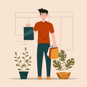가게 앞의 남자가 식료품 그림 가방을 가져옵니다.