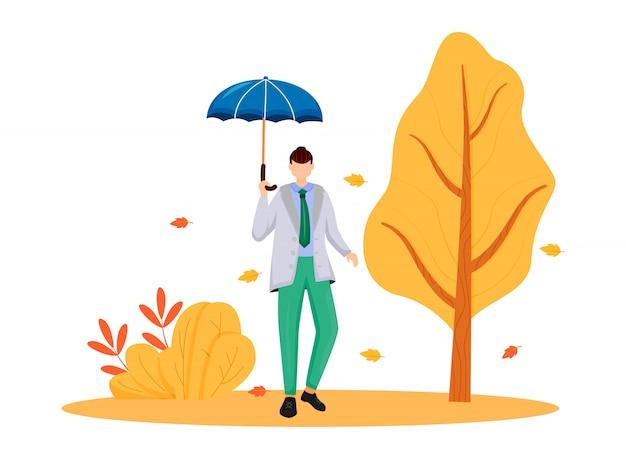 회색 재킷 플랫 컬러 얼굴이없는 캐릭터의 남자. 비가 오는 날씨. 가을 자연. 우산 유행 남자입니다. 젖은 날. 흰색 배경에 백인 남자 격리 된 만화 그림을 걷고