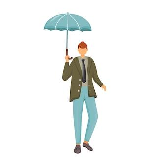 Человек в зеленой куртке плоский цвет безликий персонаж. дождливая погода. осенний влажный день. модный кобель с зонтиком. прогулка кавказского парня в костюме изолировала карикатуру на белом фоне