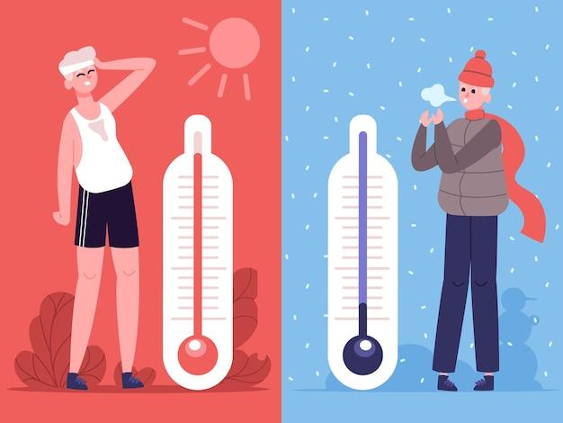 덥고 추운 날씨에 남자. 실외 온도 온도계, 날씨는 인간에게 영향을 미칩니다. 여름과 겨울 시즌 그림 세트에서 남성 캐릭터. 땀이 나고 얼어 붙은 남자 또는 소년