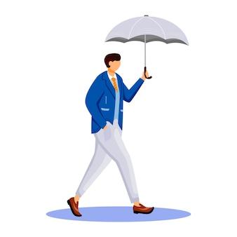 Человек в куртке плоский цвет безликий персонаж. дождливая погода. осенний влажный день. мужчина с зонтиком. прогулка кавказского парня в костюме изолировала карикатуру на белом фоне