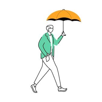 Человек в куртке плоский контур иллюстрации дождливая погода осенний мокрый день мужчина с зонтиком изолировал персонажа из мультфильма на белом фоне идущий парень простой рисунок
