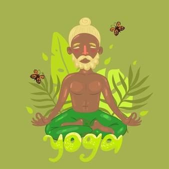 Человек в позе лотоса на зеленом и надпись йога.
