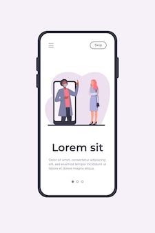 女性に何かを説明する電話画面のマスクの男。スマートフォン、検疫、ウイルスフラットベクトルイラスト。バナー、ウェブサイトのデザイン、またはランディングウェブページのパンデミックと保護の概念