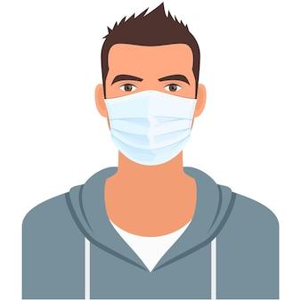 コロナウイルスまたは大気汚染防止のための医療用マスクの男
