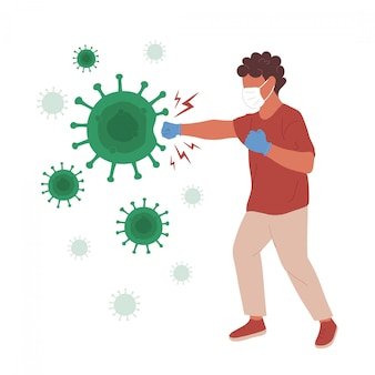 Человек в медицинской маске пробивает коронавирус