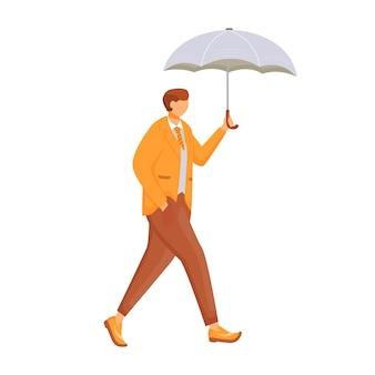 Человек в оранжевой куртке плоский цвет безликий персонаж. дождливая погода. осенний влажный день. мужчина с зонтиком. прогулка кавказского парня в костюме изолировала карикатуру на белом фоне