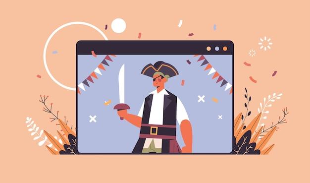 Человек в костюме пирата счастливого хэллоуина празднование самоизоляции концепция онлайн-общения веб-браузер окно портрет горизонтальный векторная иллюстрация