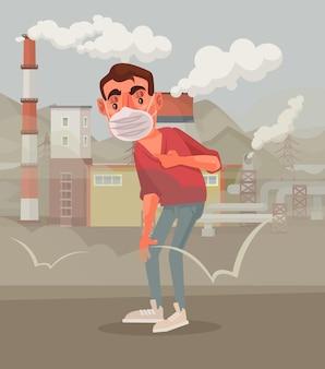 오염 된 공기에 대해 슬픈 보호 마스크 남자