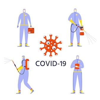 防護服を着た男性とマスクが対象物にスプレーして消毒します。人工呼吸器と保護ジャンプスーツに立っている安全制服を着た医療従事者。白で隔離のベクトルドクター。