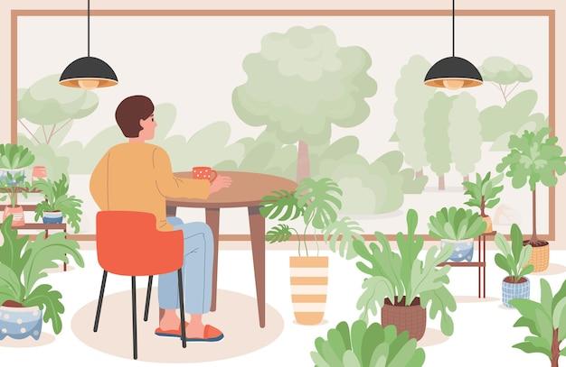 Человек в ресторане или кафе плоской иллюстрации