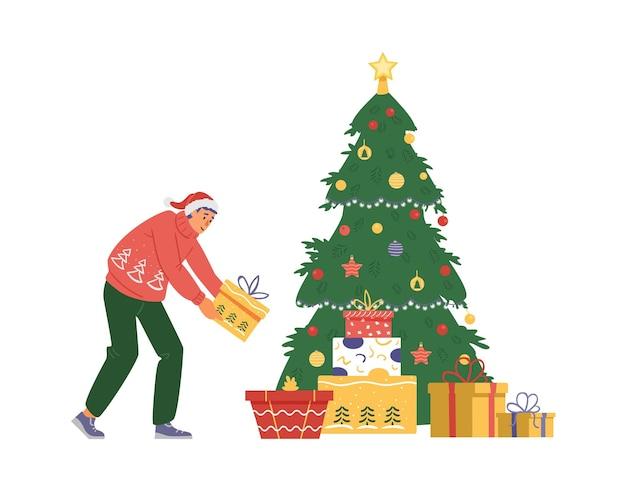 산타 모자를 쓴 남자는 크리스마스 트리 아래에 선물 상자를 둡니다. 평면 벡터 일러스트 레이 션.