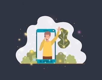 Man in smartphone on landscape