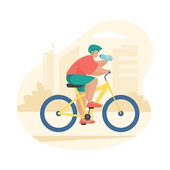 스포츠를 하는 남자는 자전거를 타고 생수를 마십니다. 도시에서 남성 만화 캐릭터 자전거 타는 사람. 야외 스포츠 활동. 평면 벡터 일러스트 레이 션