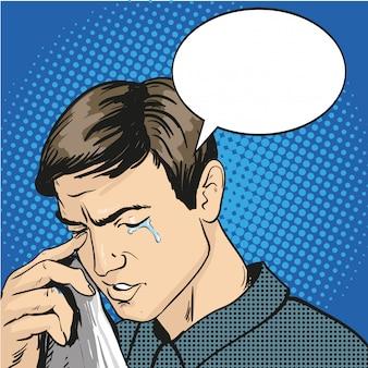 스트레스와 울고있는 남자. 만화 복고풍 팝 아트 스타일의 일러스트