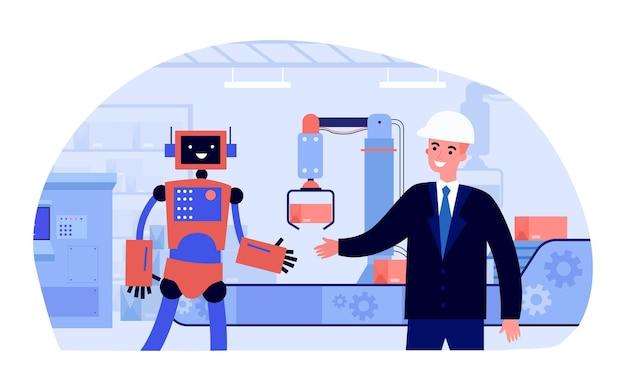공장에서 로봇과 악수하는 양복과 헬멧에 남자. 평면 벡터 일러스트 레이 션. 인간 대신 생산, 산업에서 일하는 로봇. 로봇 공학, 노동 대체, 인적 자원 개념