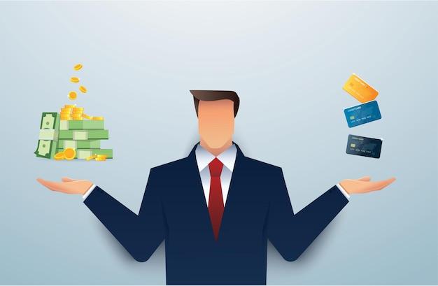 お金とクレジットカードのどちらかを選択するスーツの男