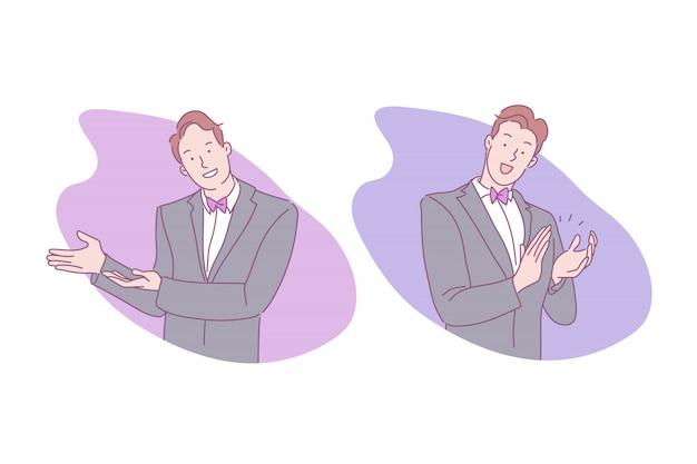 ジェスチャーの図を作るスーツの男