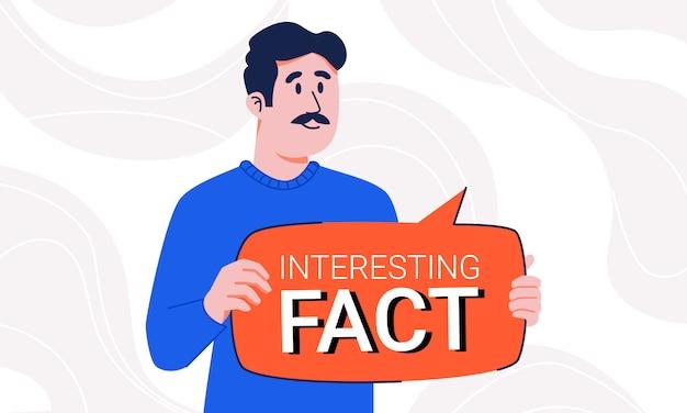 추상적 인 배경에 고립 된 그의 손에 흥미로운 사실 연설 거품을 들고 콧수염과 스웨터에 남자. 알림 팁 플레이트로 중요한 정보에 주목하는 사람.