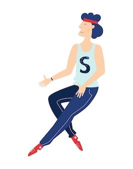 スウェットパンツとスニーカーの男ランニングまたはジャンプウェブサイトのデザインスポーツのテーマ
