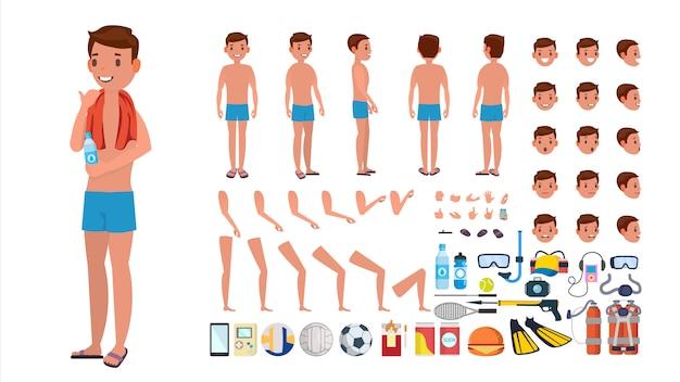 水着ベクトルの男。水泳パンツ姿のアニメの男性キャラクター。サマービーチクリエーションセット。全身、正面、側面、背面図。ポーズ、顔の感情、ジェスチャー。孤立したフラット漫画