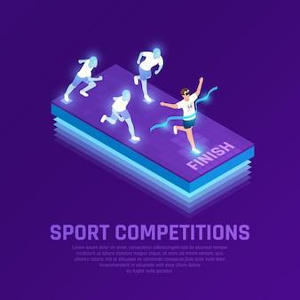 Человек в очках vr и виртуальные спортсмены во время спортивных соревнований по бегу изометрическая композиция фиолетовый