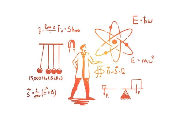 Человек в белом халате, иллюстрация научного эксперимента