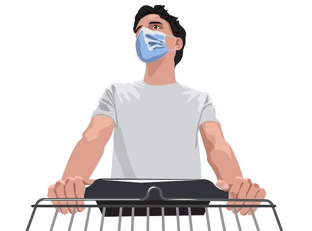 白いtシャツと食料品を買い物かごで歩く防護マスクの男