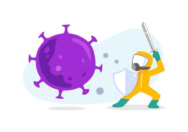 コロナウイルスに対する黄色の化学防護服の男