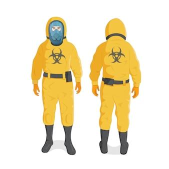 黄色の放射線防護服とヘルメット、化学物質またはバイオハザード専門の安全服の男