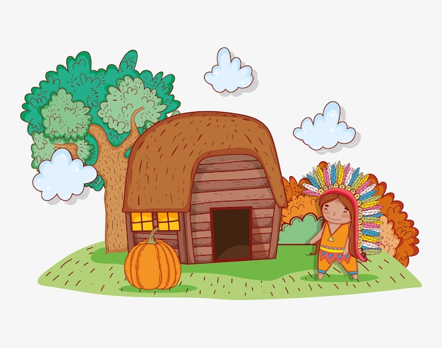Man indigenous wearing feathers with house and pumpkin