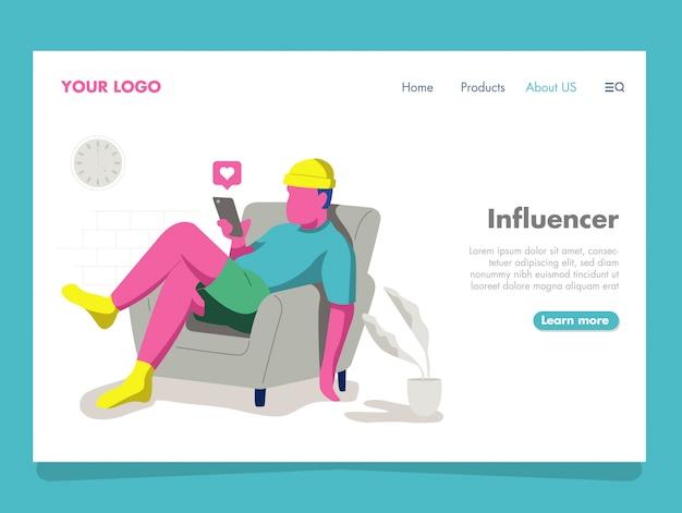 Man influencer illustration for landing page